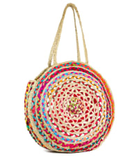 Straw Beach Tote Extra Large Straw Circle Tote - Back