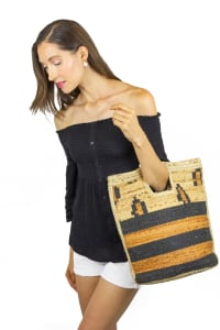 Straw Beach Tote Straw Leopard Cut Out Tote - Back