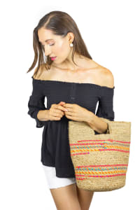 Straw Beach Bag Spring Jute Stripe Bucket - Back