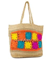 Straw Beach Tote Spring Jute Tote W/Crochet Center - Back