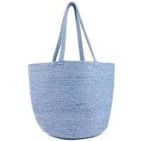 Woven Straw & Lurex Tote W/Double Handle - Back