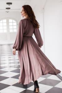 Linda V-Neck Dress - Mocca - Back
