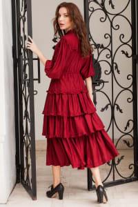 Wild West Midi Dress - Plus - Ruby - Back