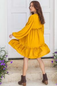 Texas Rose Boho Dress - Plus - Mustard - Back