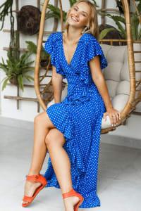 Carmen Wrap Maxi Dress - Plus - Blue Polka Dot - Back