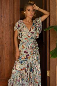 Carmen Wrap Maxi Dress - Plus - Grey Floral - Back