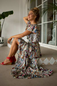 Carmen Wrap Maxi Dress - Grey Floral - Back