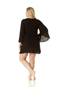 Anne Cole Flounce V Neck Tunic Cover-Up - Plus - Black - Back