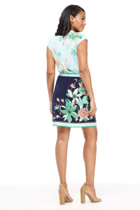 Angela Print Floral Wrap Dress - Navy / Green - Back