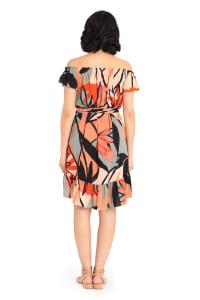 Olivia Geo Print Off Shoulder Dress - Back