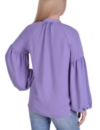 Bishop Sleeve Pullover With Mandarin Collar - Back