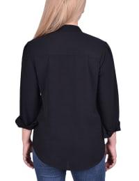 Long Sleeve Button Mandarin Collar Blouse - Back