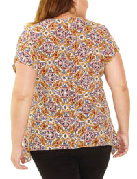 Plus Size Short Sleeve Hankerchief Hem Pullover With Rings - Back