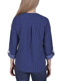 3/4 Roll Tab Sleeve Mandarin Collar Blouse - Back