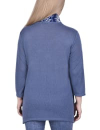 Cardigan With Inset And Detachable Printed Scarf - Back