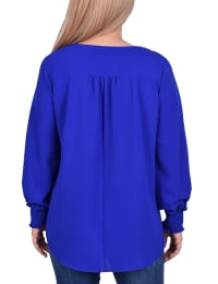 Petite Long Sleeve Overlapping Crepe Top With Necklace - Back