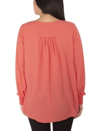 Petite Long Sleeve Overlapping Crepe Top With Necklace - Coral - Back