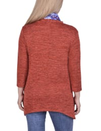 Petite Cardigan With Inset And Detachable Printed Scarf - Coral Tropaintrio - Back