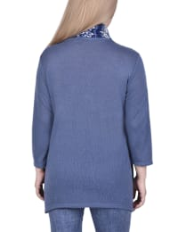 Petite Cardigan With Inset And Detachable Printed Scarf - Navy Fuselinetrio - Back