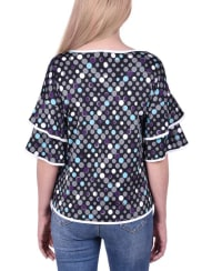 Petite Double Layer Elbow Sleeve Top - Petite - Multi Dot - Back