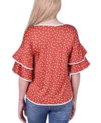 Petite Double Layer Elbow Sleeve Top - Petite - Rust / Ivy - Back