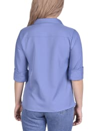 Long Sleeved Seamed Blouse With Wide Cuffs - Petite - Colony Blue - Back