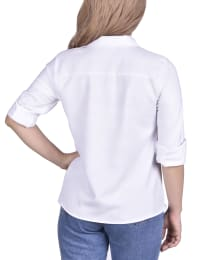 Long Sleeved Seamed Blouse With Wide Cuffs - Petite - White - Back