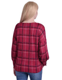Long Sleeve Plaid Criss Cross Top With Wide Cuffs - Back