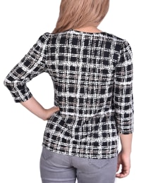 3/4 Sleeve Cutout Pullover - Back