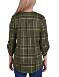3/4 Sleeve Roll Tab Pintucked Front Pullover - Back