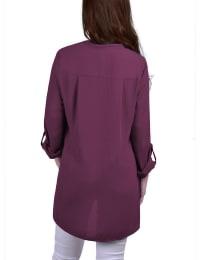 Roll Tab Sleeve Mandarin Collar Blouse With Zippered Pockets - Back