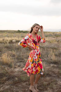 Luna Coral Floral Hanky Hem Dress - Misses - Back