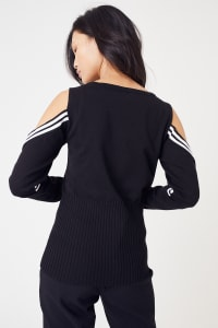 Sporty Cold Shoulder Sweater - Plus - Black/White - Back