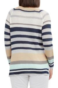 Caribbean Joe High Low Beach Sweater - Blue Stripe - Back
