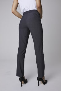 Roz & Ali Secret Agent Pull On Tummy Control Pants with L Pockets - Petite - Grey - Back