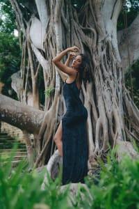 Jewel Slip Dress in Crushed Velvet - Plus - Black - Back