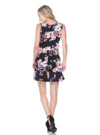 Crystal Fit & Flare Flower Print Mini Dress - Back