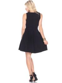 Shay Fit & Flare Crisscrossed Neckline Dress - Back