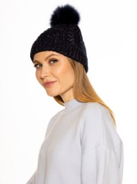 Angela Cable Knit Beanie with Pom - Back