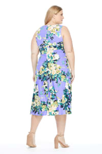 Rory Sleeveless Floral Pleat Neck Midi - Plus - Lilac / Green - Back