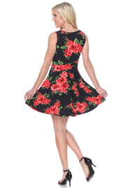 Floral Crystal Fit and Flare Dress - Back
