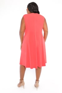 Rachel Sleeveless Criss Cross Neck Midi Dress - Plus - Back