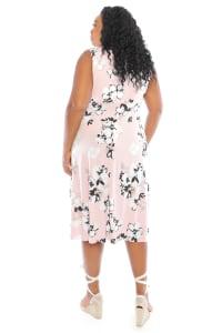 Vanessa Sleeveless Floral Keyhole Pleat Neck Midi Dress - Plus - Back