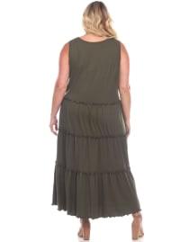 Scoop Neck Tiered Midi Dress - Plus - Back