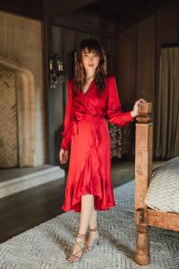 Emma Wrap Dress - Plus - Crimson - Back