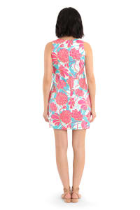 Lizzy Sleeveless Geo Peonies Cotton Shift Dress - Petite - Back
