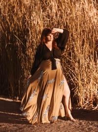 Maxi Wrap Skirt Without Ruffles - Plus - Back
