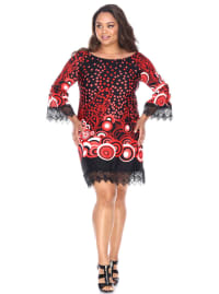 Lenora 3/4 Sleeve Empire Waist Dress - Plus - Back