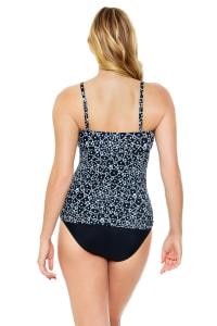 Dots Vineyard Side Shirred Tankini Top - Back