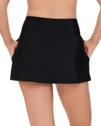 Solid 12 Women Swim Skirt  - Plus - Black - Back